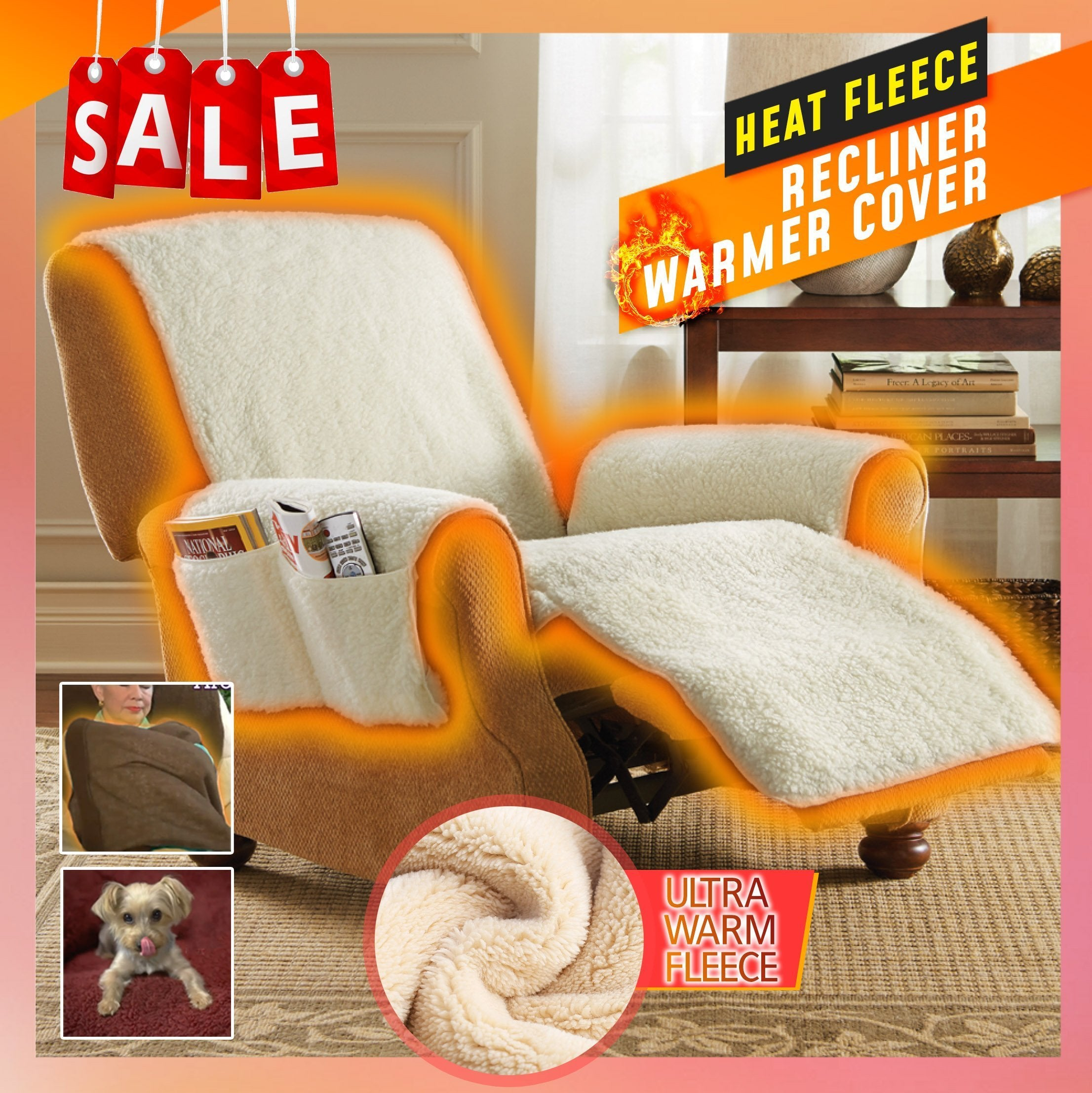 Heat Fleece Recliner Warmer Cover