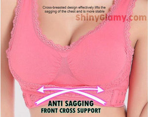 Front Cross Side-Buckle Lace Wireless Lift Bra