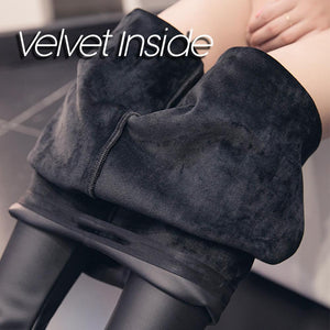 Black Leather Pants with Velvet Inside