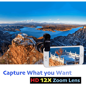 HD 12x Zoom Phone Camera Telescope Lens With Clip