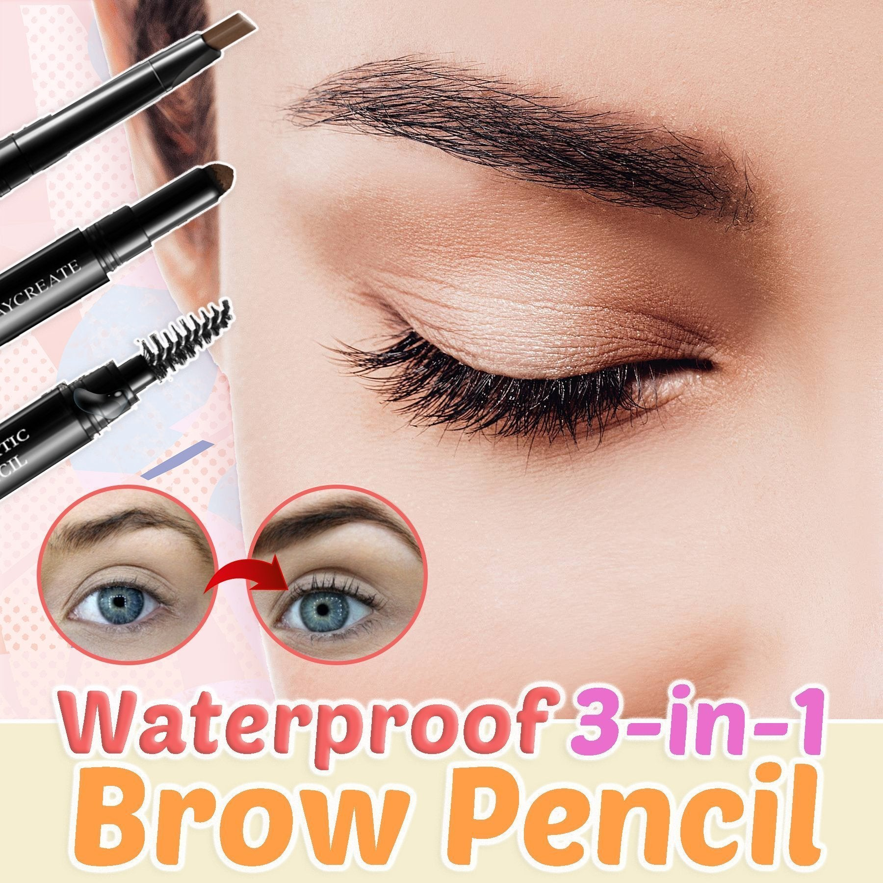 Waterproof 3-in-1 Brow Pencil