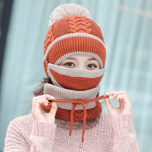 3-in-1 Winter Beanie Scarf Set