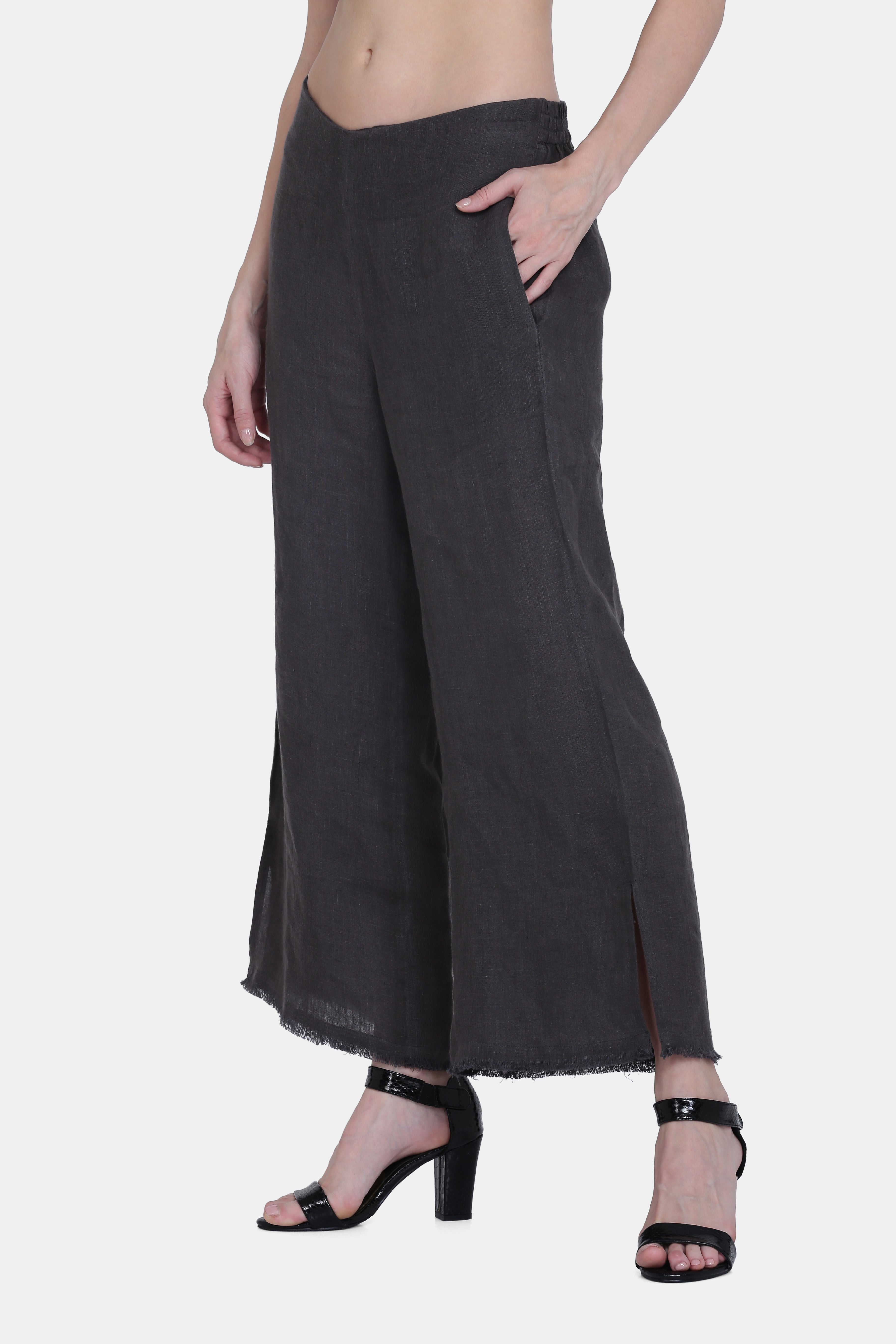 The Brooke Linen Pants in Charcoal