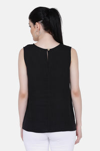 The Ayla Linen Black Top