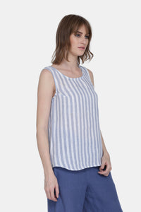 The Ayla Linen Stripes Top