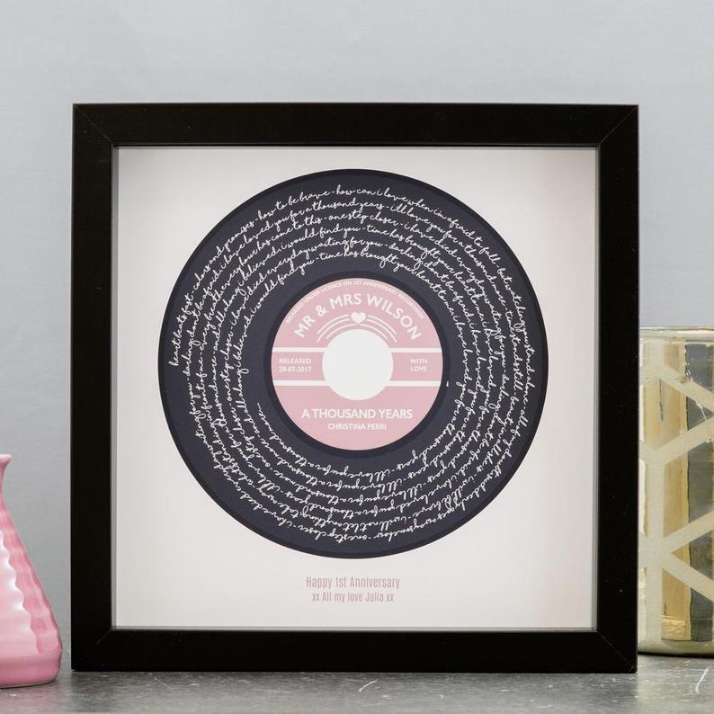 Personalized Lyrics Vinyl Print