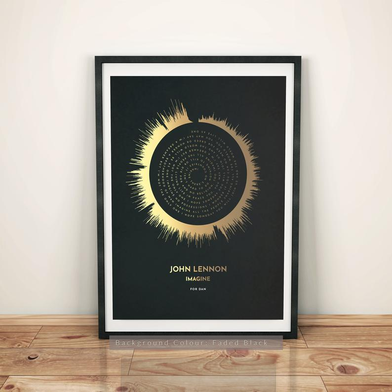 Personalized Faded Lyrics & Sound Wave Art