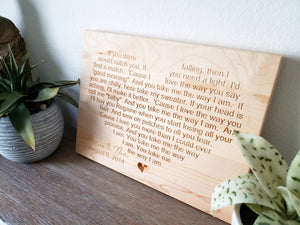 Wedding Song Engraved In Wood - 5th Year Anniversary Gift