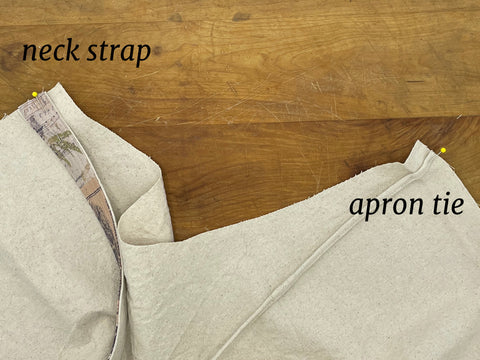 placement of neck strap and apron tie
