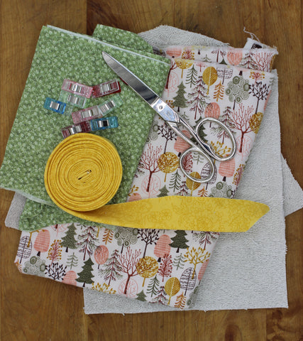 Supplies for sewing potholders