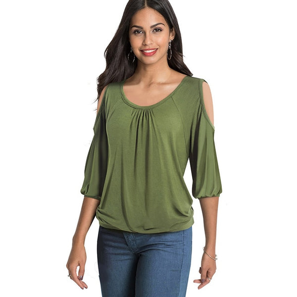 Neckline Solid Color t-shirts