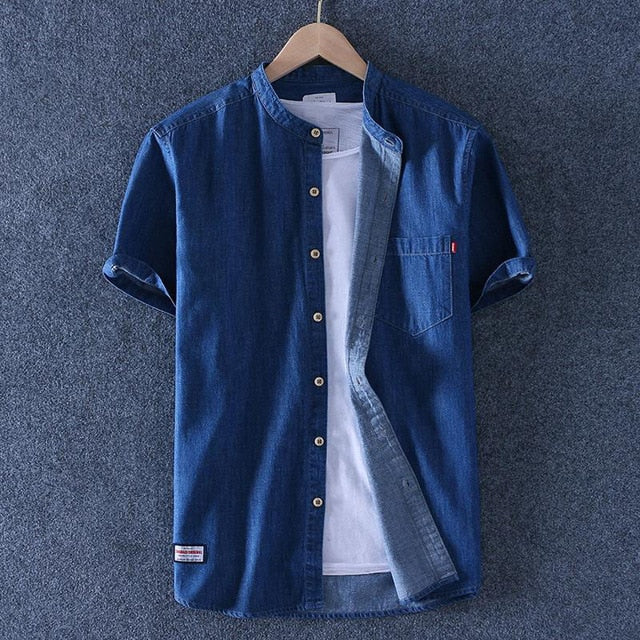 Men Solid Short Sleeve Linen Shirts