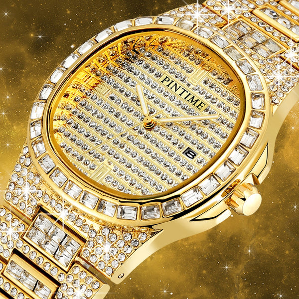 Men Diamond Quartz Date Mens Watches