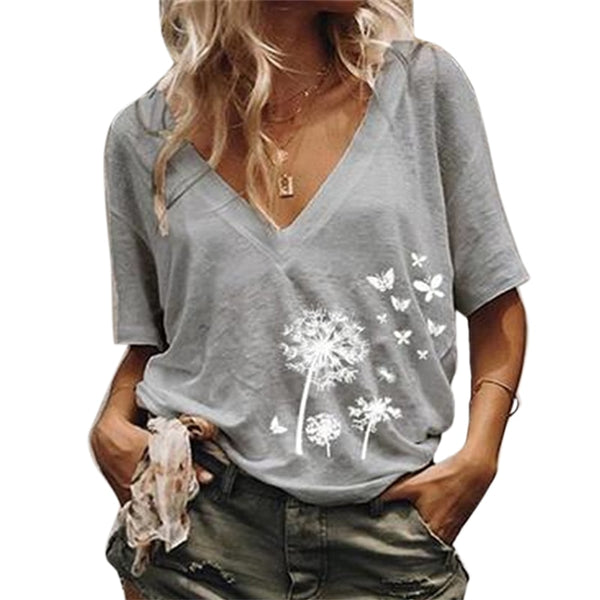 Loose Casual Printed V neck t shirt