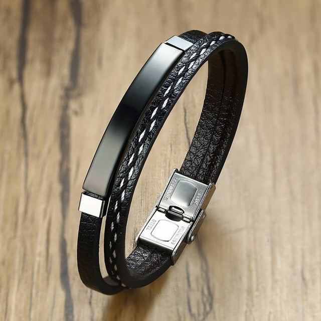 Unique Sew Lines Genuine Leather Bracelets