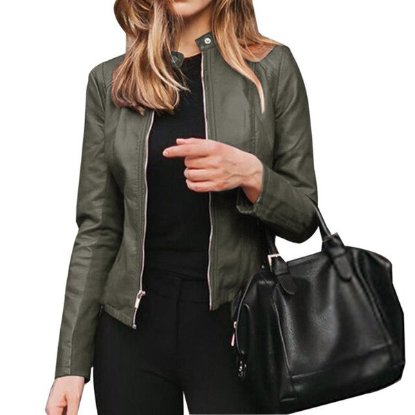 Faux Leather Coat Female Motorcycle