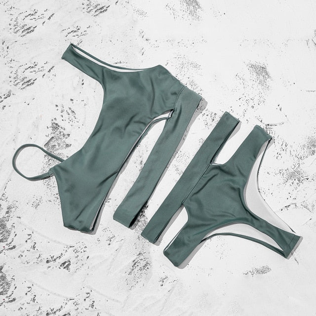 Swimsuit Women Bandage Solid Bikini Sets