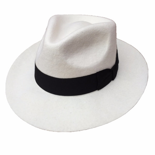 Felt Gangster White Fedora Hat