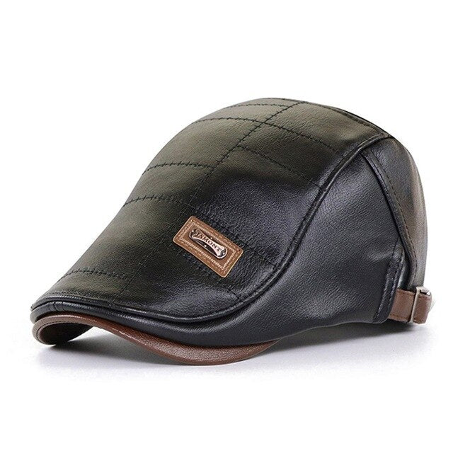 Real Leather Flat Cap