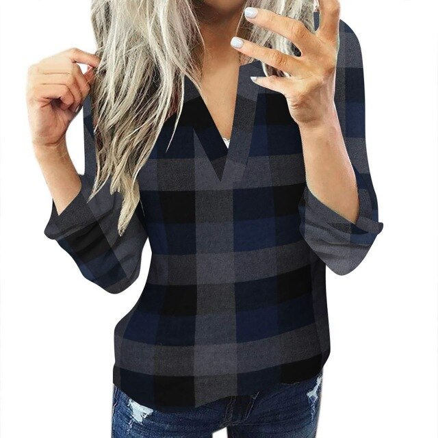 Casual Cotton Long Sleeve Plaid Shirt