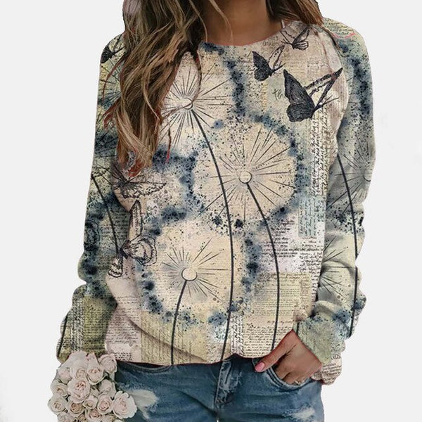 Butterfly Printed Long Sleeves T-shirt