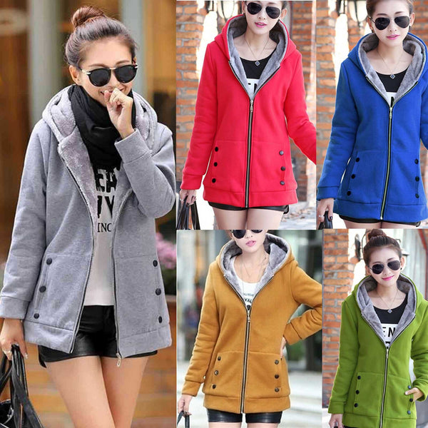Women Solid Color Coat Long Sleeve Jacket