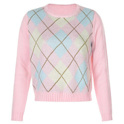 Argyle Knitted Sweater Pink Preppy Style
