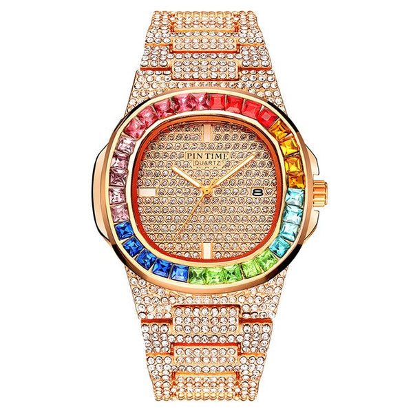 Large Gold Crystal Women Watches Luxury Brand