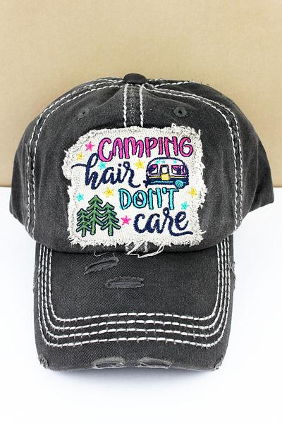 Distressed Black 'Camping Hair Don't Care' Hat