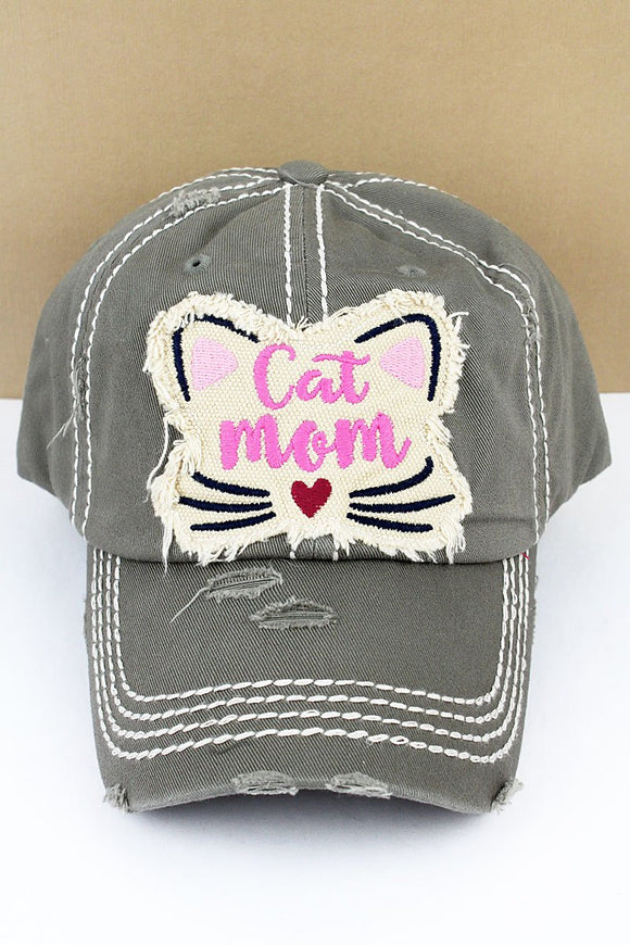 Distressed Steel Gray 'Cat Mom' Hat