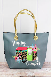 Leopard Happy Camper Gray Faux Leather Shoulder Tote