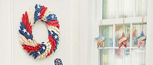 "18"" Woodcurl Patriotic USA 4th of July Memorial Day Labor Day Decorative Wreath Wall Decor"