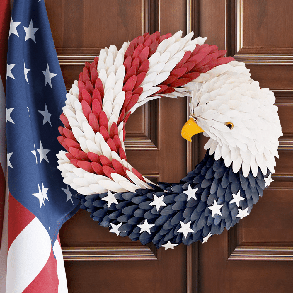 Patriotic American Bald Eagle Wreath - Door Wreath - Christmas Decor - Daily Smiley