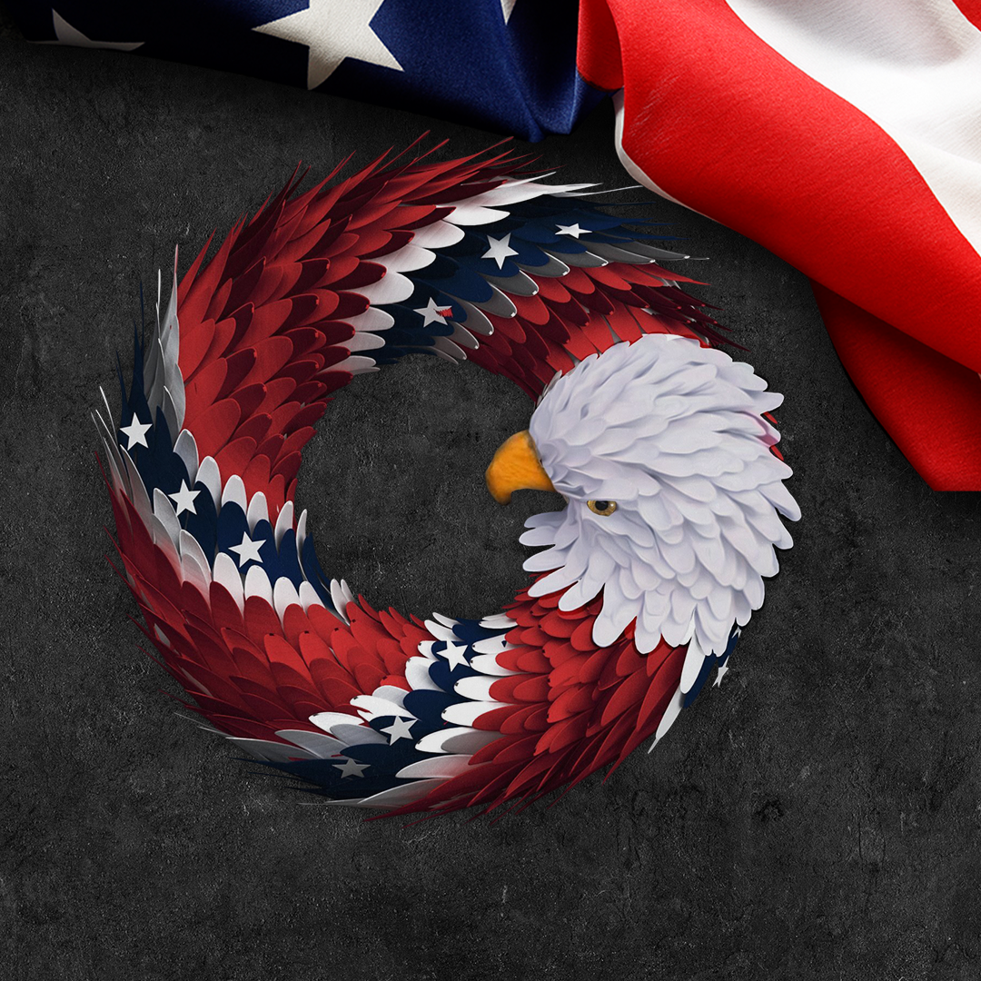 2x Patriotic Southern Pride Bald Eagle Wreath