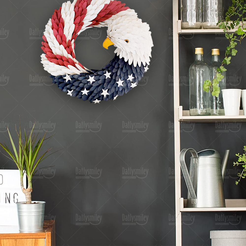 Patriotic American Bald Eagle Wreath