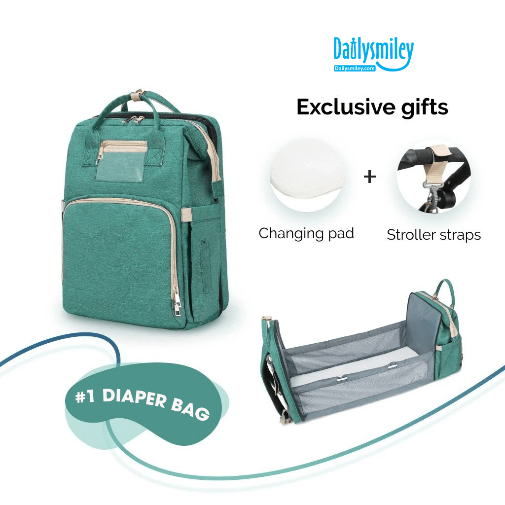 2xDiaper Bag Backpack and Portable Bed (2020 Upgraded) - Daily Smiley