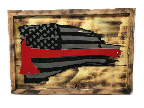Fireman's Ax American Flag Wood Mount