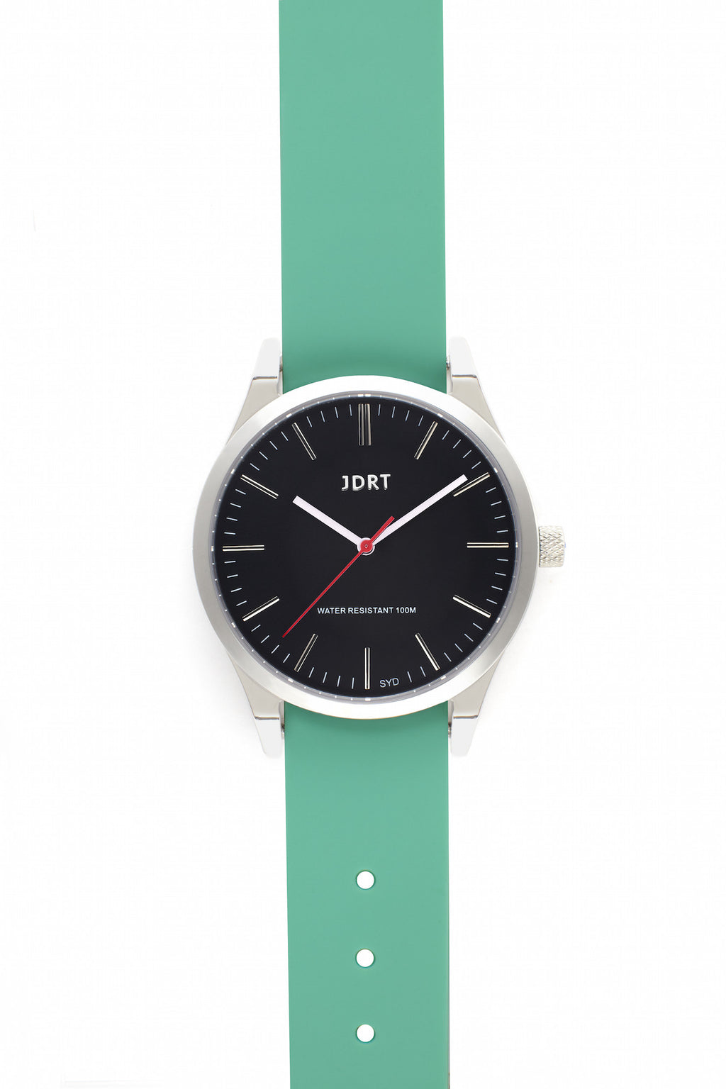 Jet Face with Mint Silicone Watch Band