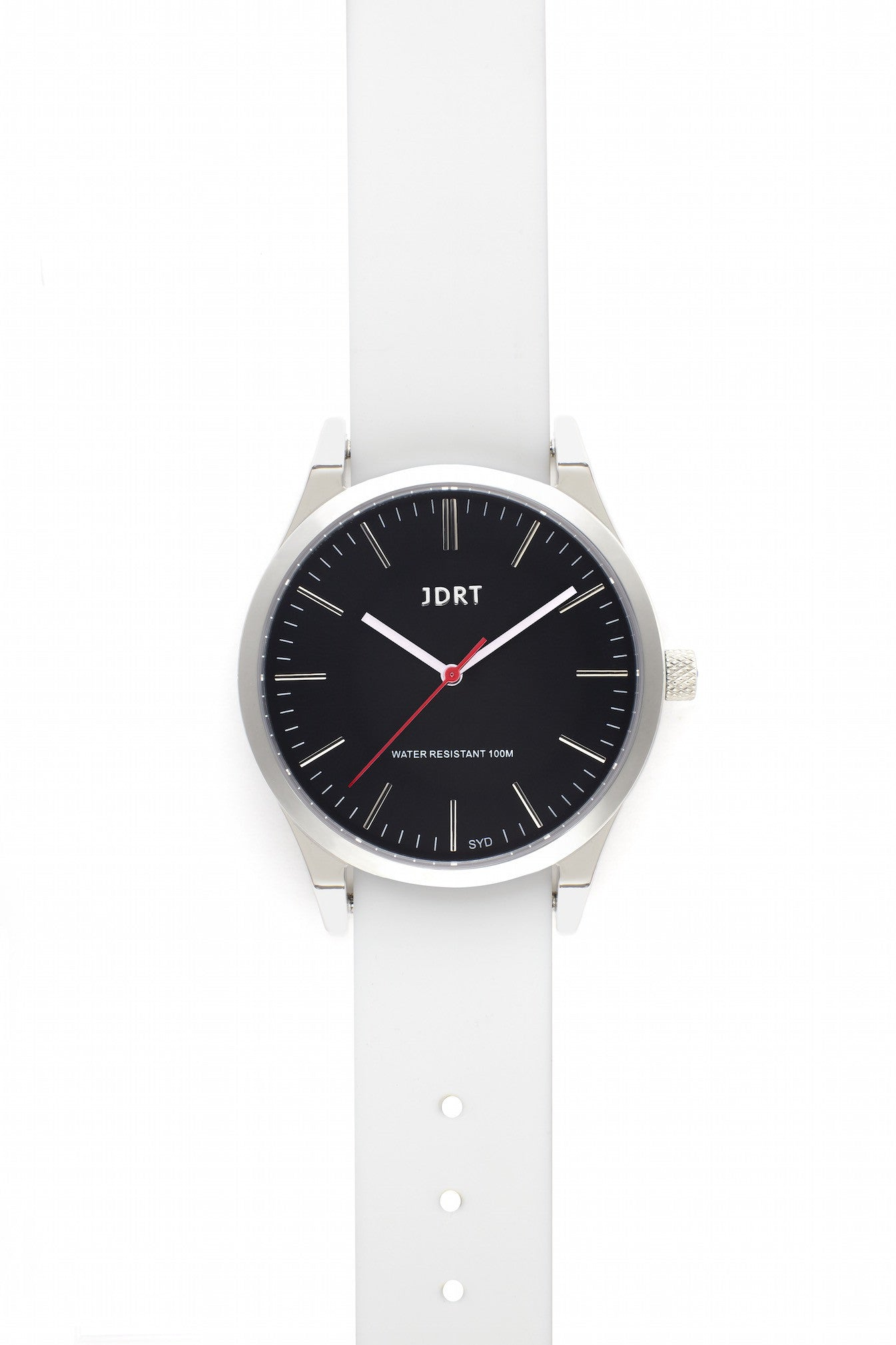 Jet Face with Antique White Silicone Watch Band
