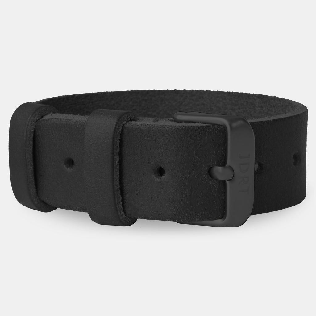 Black Leather Strap - Matte Black Buckle