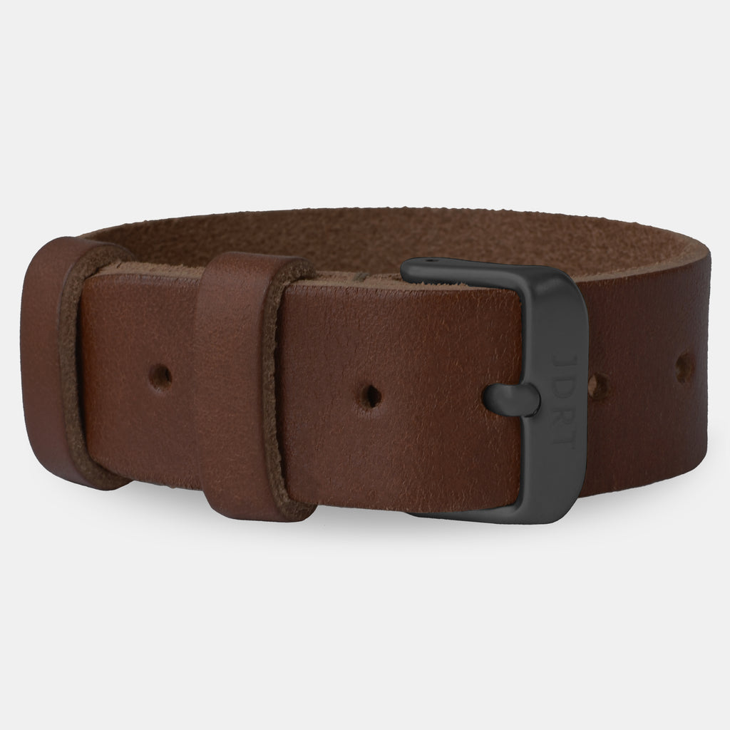 Chestnut Leather Strap - Matte Black Buckle
