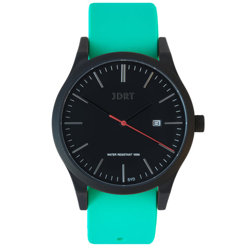 Matte Black Watch with Green Strap