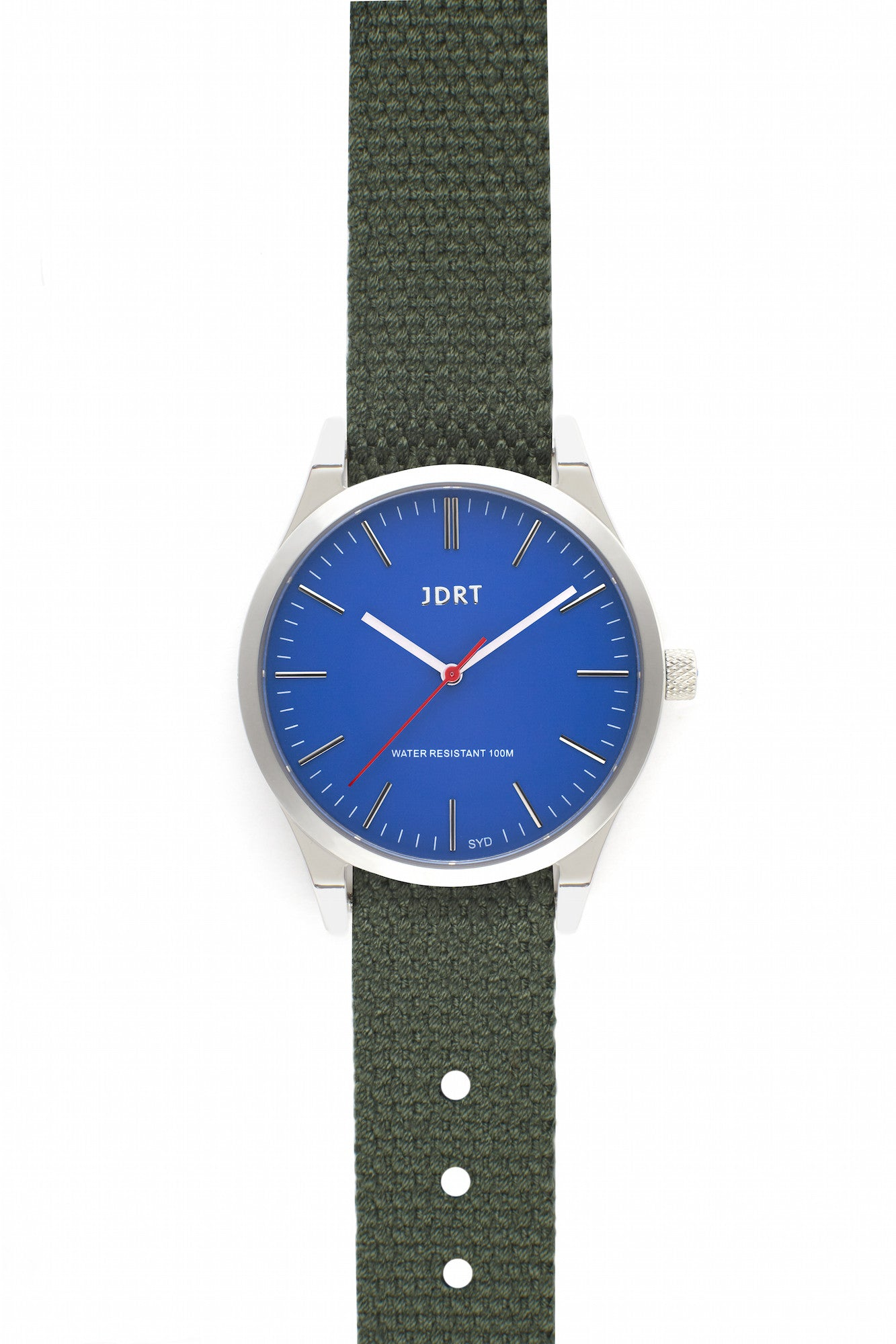 Azure Face with Army Canvas Watch Band