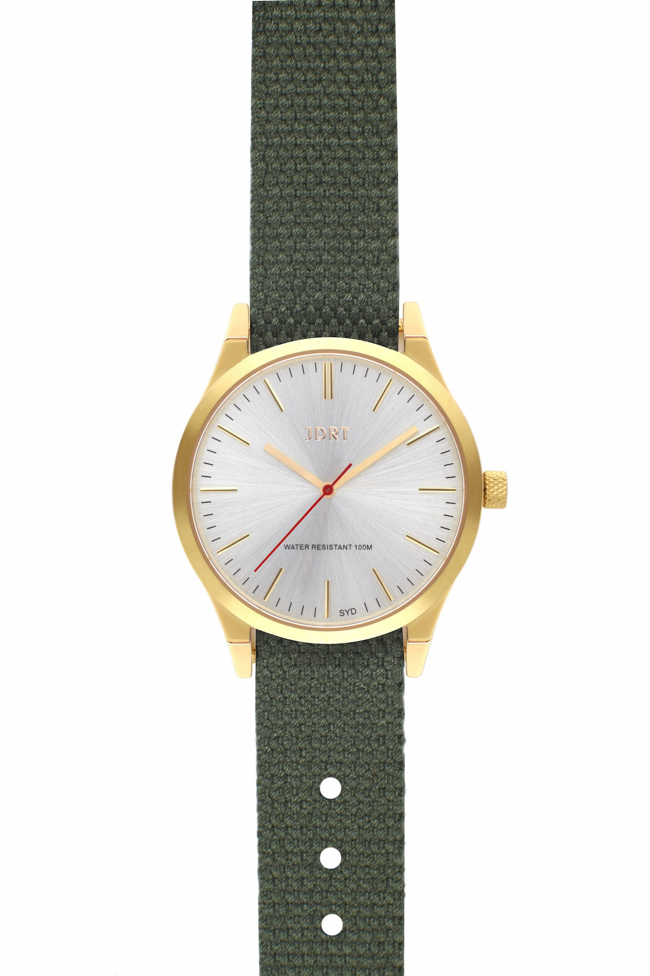 Brushed Silver Face with Army Canvas Watch Band