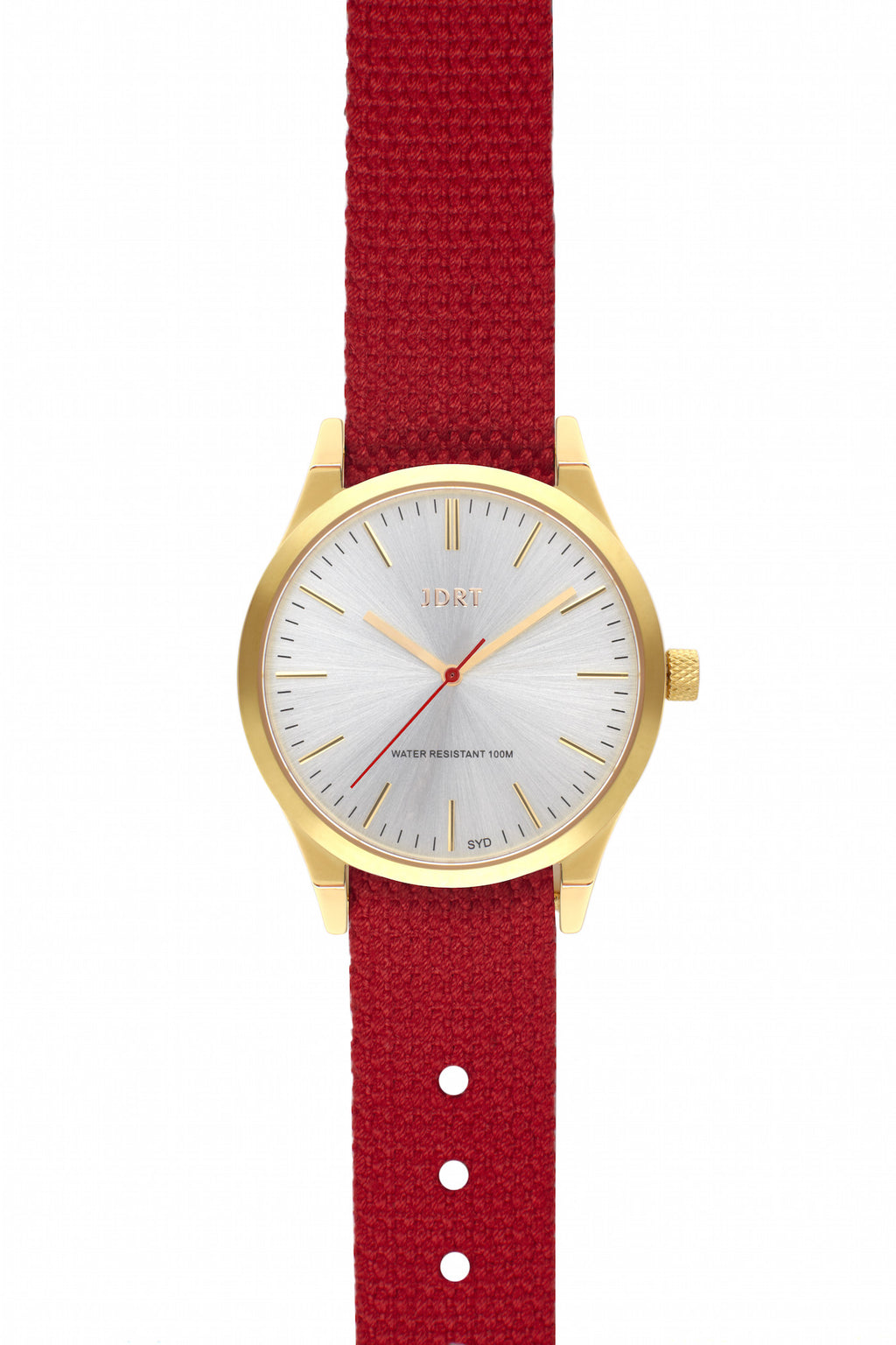 Brushed Silver Face with Chilli Canvas Watch Band