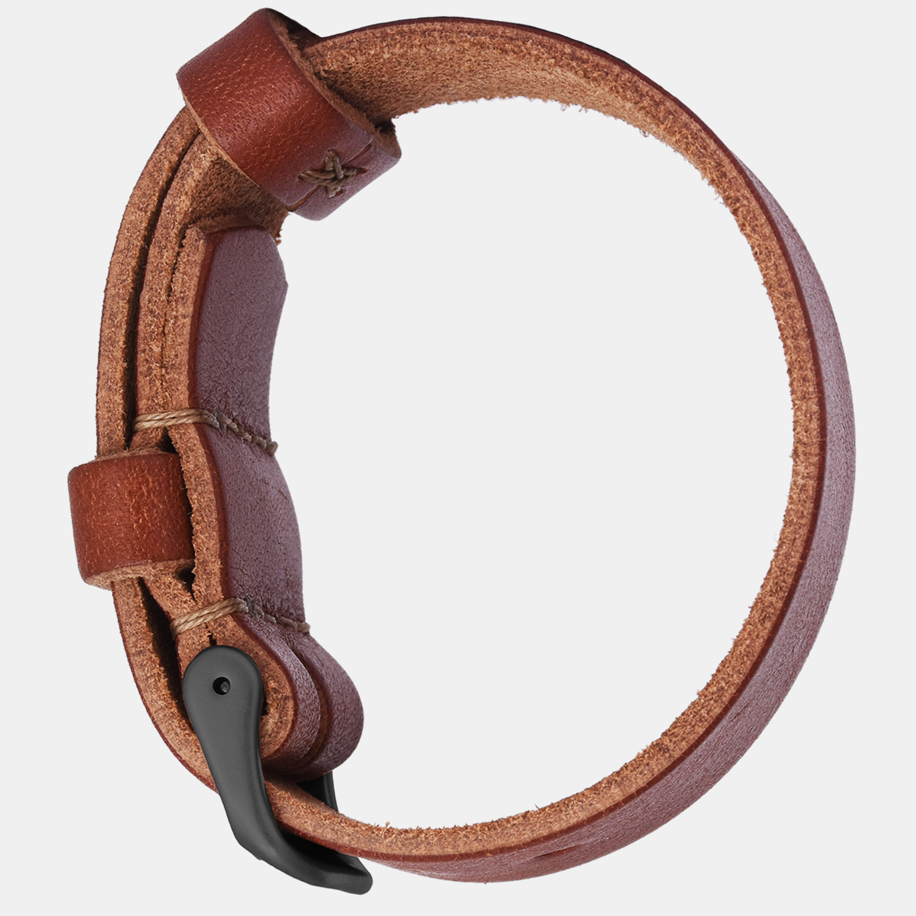 Brown Leather Strap - Matte Black Buckle