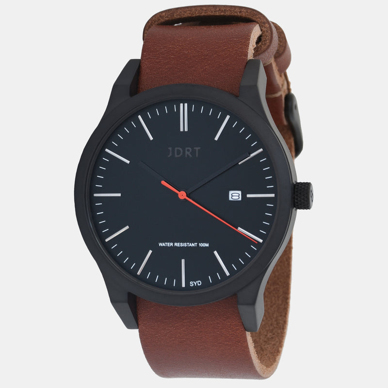 Matte Black / Brown Leather