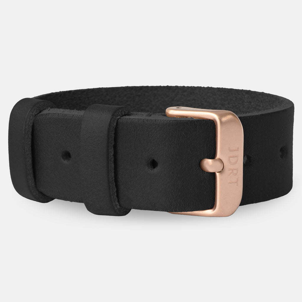 Black Leather Strap - Matte Rose Gold Buckle