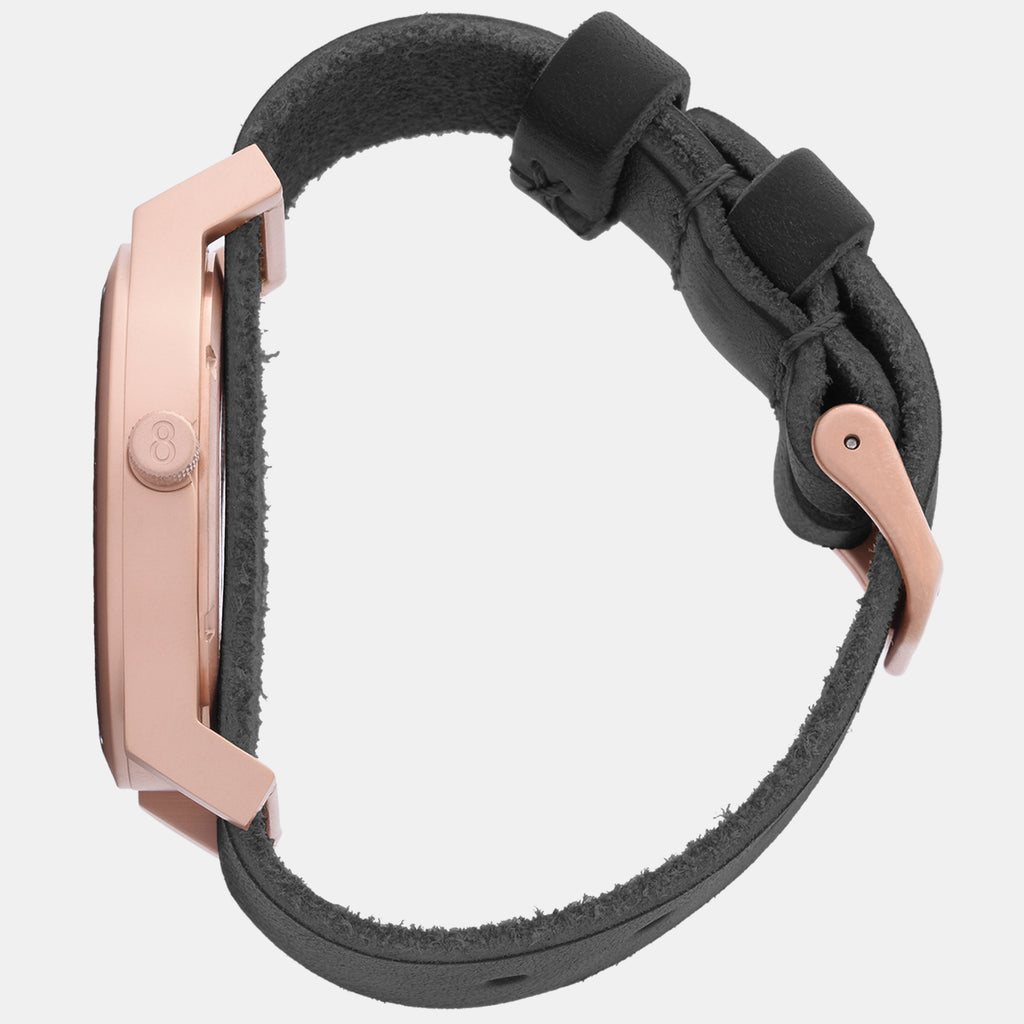 Matte Rose Gold / Black Leather
