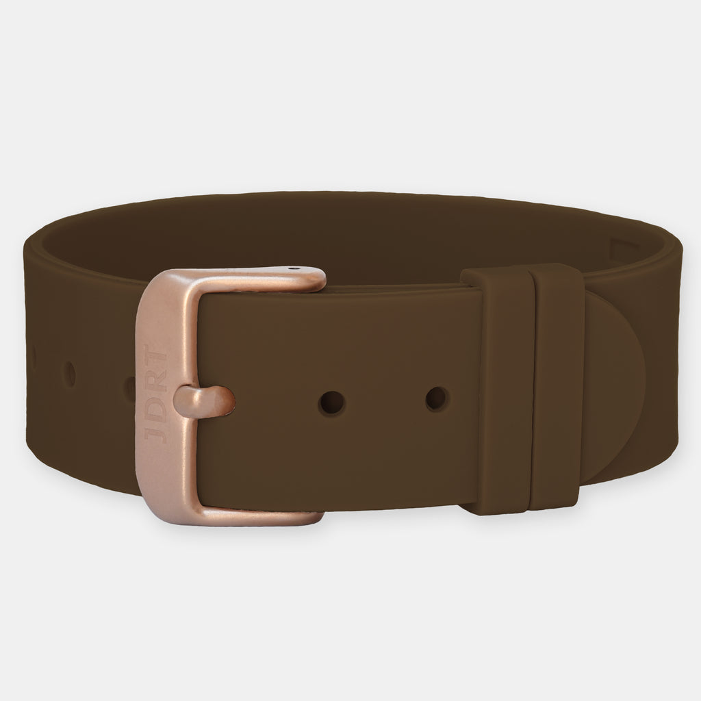 Brown Silicone Strap - Matte Rose Gold Buckle